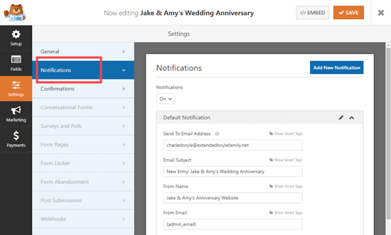 Checking the notification settings for your RSVP form