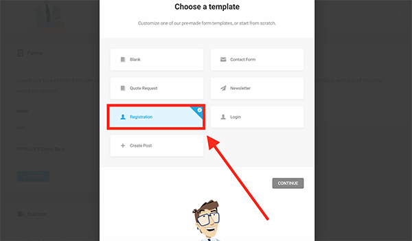 New registration form in WordPress.