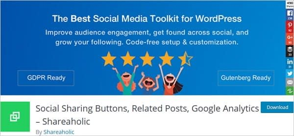Shareaholic Social Sharing Buttons, Related Posts, and Google Analytics plugin for WordPress.