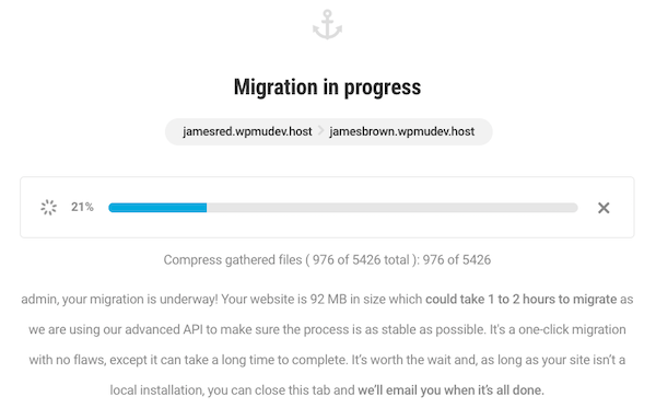 An old look at the Shipper migration screen