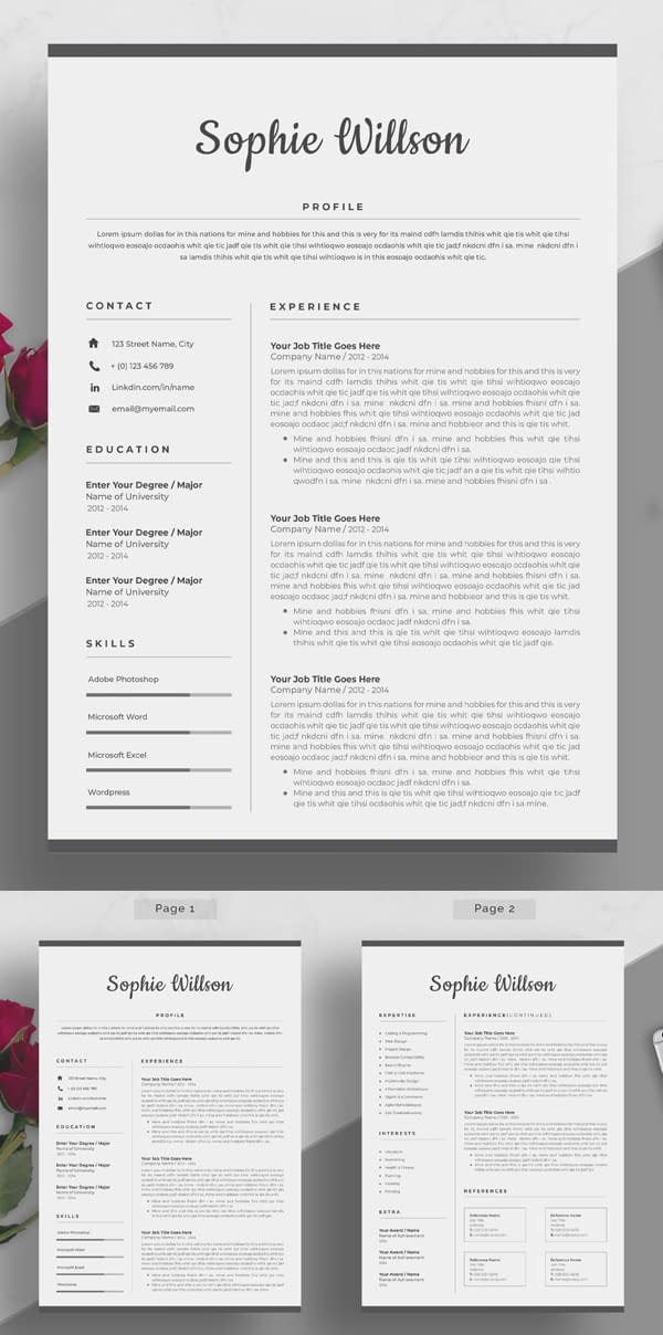 Simple Clean Resume Template Design