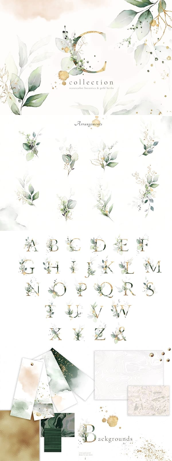 Watercolor & Gold Leaves Collection