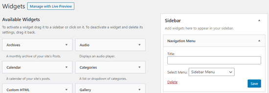 Adding a menu as a sidebar widget