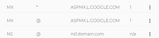The changed MX records in the Domain.com list