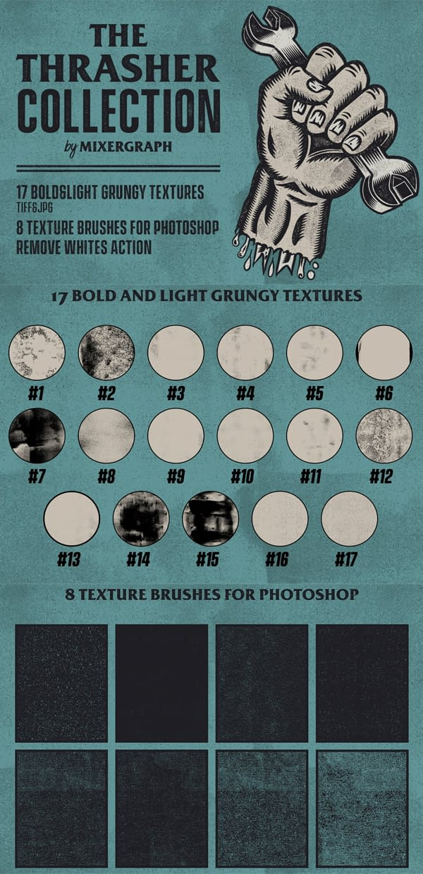 Bold and Subtle Trash Textures and Brushes for Photoshop