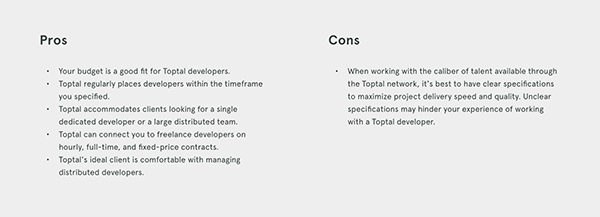 Pros and cons of Toptal for this particular project.