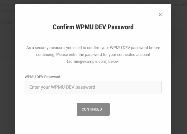 For increased security, Shipper now asks for a password confirmation before you continue with your migration