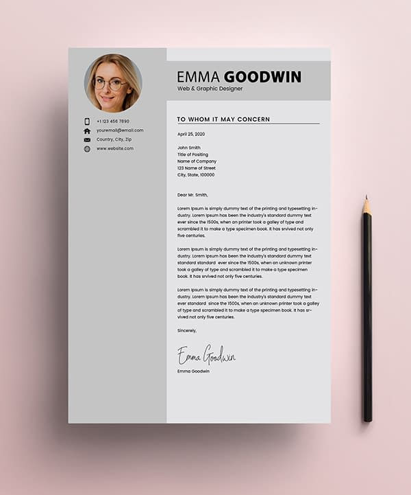 Free Resume 2 Page + Cover Letter Templates (PSD) - 3