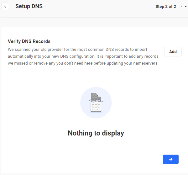 Setup DNS - Verify DNS Records screen.